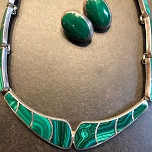 Gorgeous genuine Malachite necklace in sterling